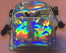 Victoria's Secret Pink Mini Backpack Iridescent Holographic Silver Dog NIP