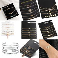 Women Jewelry Set Rhinestone Beaded Chain Alloy Bracelets Set Accessories