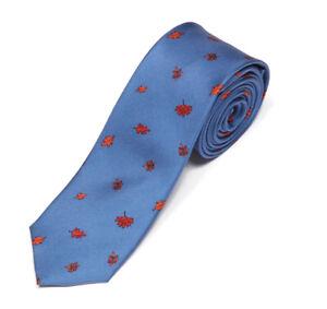 J. CREW Autum Leaf Brown Falling Sky Blue Men's Silk Skinny Neck Tie