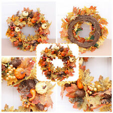 More details for artificial wreath topiary pine cone pumpkin door garland christmas decor lights