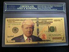 Gold Foil Donald Trump $100 Dollar Bill MAGA Trump 2020 Novelty Bill W/ Case