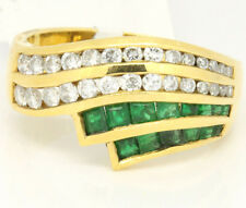 Vintage 18k Yellow Gold 1.12tcw Emerald W/ Diamonds Wave Ring Size 6.25