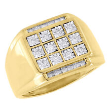10K Yellow Gold Mens Round Cut Diamond Square Fashion Pinky Ring Band 0.25 Ct.