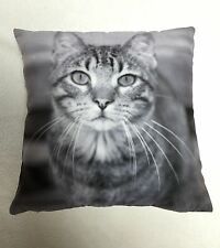 "LUXURY ANIMAL CUSHION COVER - BLACK AND WHITE CAT - ART CUSHION COVER 18""x18"""