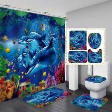 1/3/4pcs Blue Sea Dolphin Bathroom Shower Curtain Rug Toilet Cover Bath Mat Set