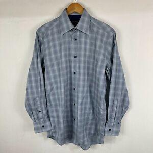 Kenzo Mens Button Up Shirt 38 Aus Medium Blue Lattice Long Sleeve Collared