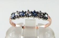 LUSH 9K 9CT ROSE GOLD CEYLON SAPPHIRE DIAMOND ART DECO INS ETERNITY BAND RING