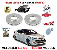 FOR HYUNDAI VELOSTER 1.6 TURBO + GDI 2011--> NEW FRONT BRAKE DISC SET + PADS KIT
