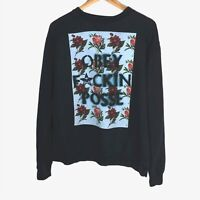 OBEY Posey Vintage 90s Style Mens Medium Jumper Graphic Spellout Sweater Floral