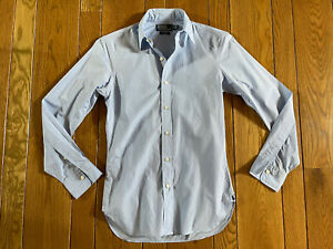 Polo Ralph Lauren Mens Blue Sea Island Cotton Point Collar Dress Shirt 14.5