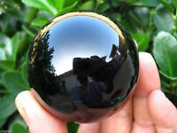 40MM + Stand Natural Black Obsidian Sphere Large Crystal Ball Healing Stone #18