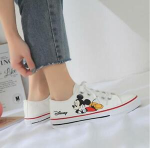 Mickey Mouse Printed Sneakers Women Lace-Up Slip-On Flat Sports Shoes 3 Colors