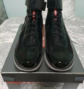 PRADA AMERICAS CUP HIGH-TOP SNEAKERS 4T2393 Black patent leather 11.5 US NIB