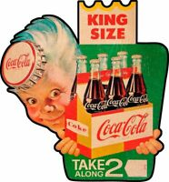 KING SIZE COCA COLA TAKE 2 SPRITE BOY HEAVY DUTY USA MADE METAL ADVERTISING SIGN