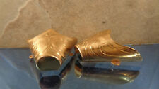Engraved Flat Tips Toe Boots Gold Tone    Western