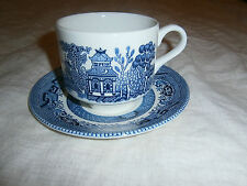CHURCHILL ENGLAND WILLOW COFFEE CUP & SAUCER - BLUE & WHITE PATTERN - NEAR NEW