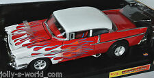 Hot Wheels - 1957 CUSTOM CHEVY BEL AIR red-white/flames - 1:18