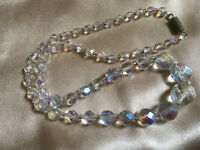 VINTAGE Rainbow Aurora Borealis Single Strand Necklace Barrel Clasp #3