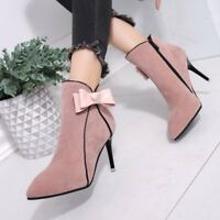 New Women Zip-up Bow Slim High Heels Ankle Boots Solid Fashion Pointed Toe Shoes