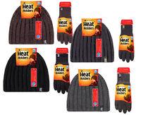 Heat Lockers® Men/'s Ribbed Knit Hat /& Glove Set Black or Grey M//L or L//XL New