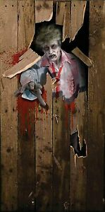 Scary Zombie Man Halloween Prop Party Door Cover Poster Decoration 6ft X 3ft