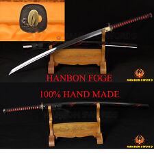Handmade Japanese Samurai Sword KATANA Oil Tempered FullTang Blade Wolf Fittings