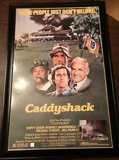 "CADDYSHACK MOVIE POSTER CHEVY CHASE AUTHENTIC SIGNATURE FRAMED 26"" x 39"" COA"