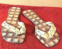 Authentic CHANEL Flip Flop Sandals Studded Beige Leather Beige & Red Footbed 40