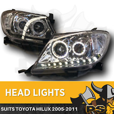 Angel Eye Projector Headlights to suit Toyota Hilux 2005-2011 LED Clear Halo