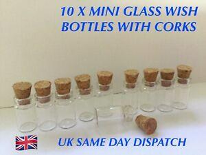 10 X MINI GLASS WISH BOTTLES WITH CORK STOPPER VIALS TINY WISHING BOTTLES 0.5ML