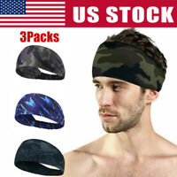 3pcs Men Women Moisture Wicking Wide Non-Slip Sport Headband Sweatband Gym Yoga