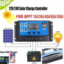 LCD Solar Laderegler PWM Charge Panel Controller Regulator 12V 24V 50A Dual USB