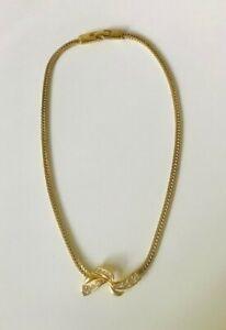 MONET Modernist Gold Tone Snake Chain with Cream Enameled Slide Choker Necklace.