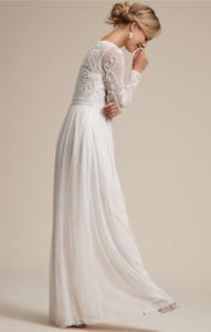 BHLDN Sinclair Long Sleeve Beaded Bridal Dress Size 6 Ivory Champagne