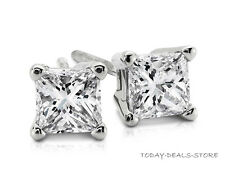 Princess Cut Earrings Studs Stud Solid Real 14K White Gold Screw-back Basket