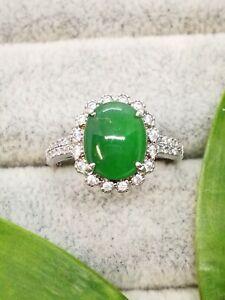 Ice Green Natural Jadeite Jade Ring/糯冰阳绿天然翡翠戒指