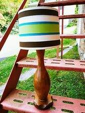 "Vintage Wood Bowling Pin Table Lamp With Stripped Shade 23"" Tall"