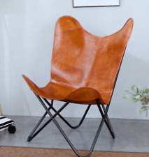 Retro Butterfly Chair Genuine Brown Leather Vintage Industrial Style Living Room
