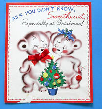Rust Craft Boston U.S.A. Vintage Bears Sweetheart Christmas Card No Envelope