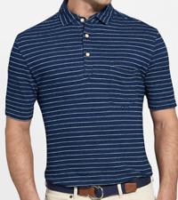 NEW Peter Millar Mens XL Indigo Blue White Striped Seaside Polo MF18K21 $115