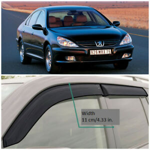 PE11999 Window Visors Guard Vent Wide Deflectors For Peugeot 607 Sd 1999-2004