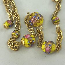 Vintage Venetian Yellow Canary Aventurine Wedding Cake Glass Bead Necklace 18""