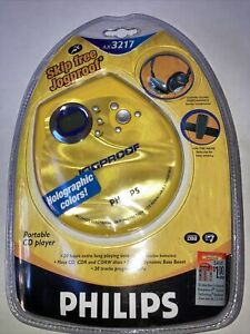 Sealed New PHILIPS SKIP FREE JOGPROOF PORTABLE CD PLAYER AX3217 NOS Yellow