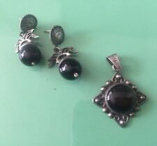 0da237b6c9ab Onyx and silver Mexican pendant with matching earrings