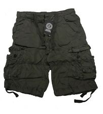 Mens Cargo Combat Shorts Casual Cotton Chino Micro Fabric Pants Summer Holidays Olive 30 In.
