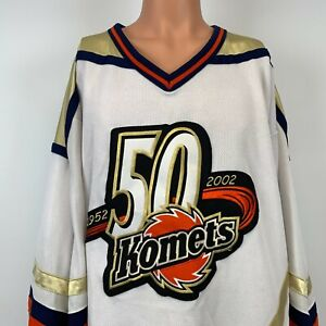 Athletic Knit Fort Wayne Komets 50th Anniversary Jersey Vtg 2002 ECHL Sewn 2XL