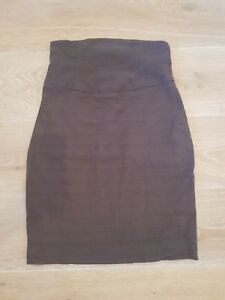 Cue Mid Waisted Brown Textured Skirt Size AU 6