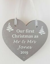 Personalised Heart decoration Our or Your first Christmas as Mr & Mrs ..Gift 1st