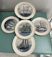 5 Danbury Mint Official Tall Ships Fine China Plate Collection USA Sail Training