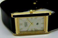 Seiko Quartz Super Slim Men Gold Plated White Dial Excellent Watch Run Order